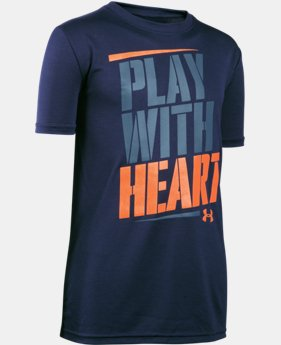 New Arrival Boys' UA Play With Heart T-Shirt LIMITED TIME: FREE SHIPPING 1 Color $19.99
