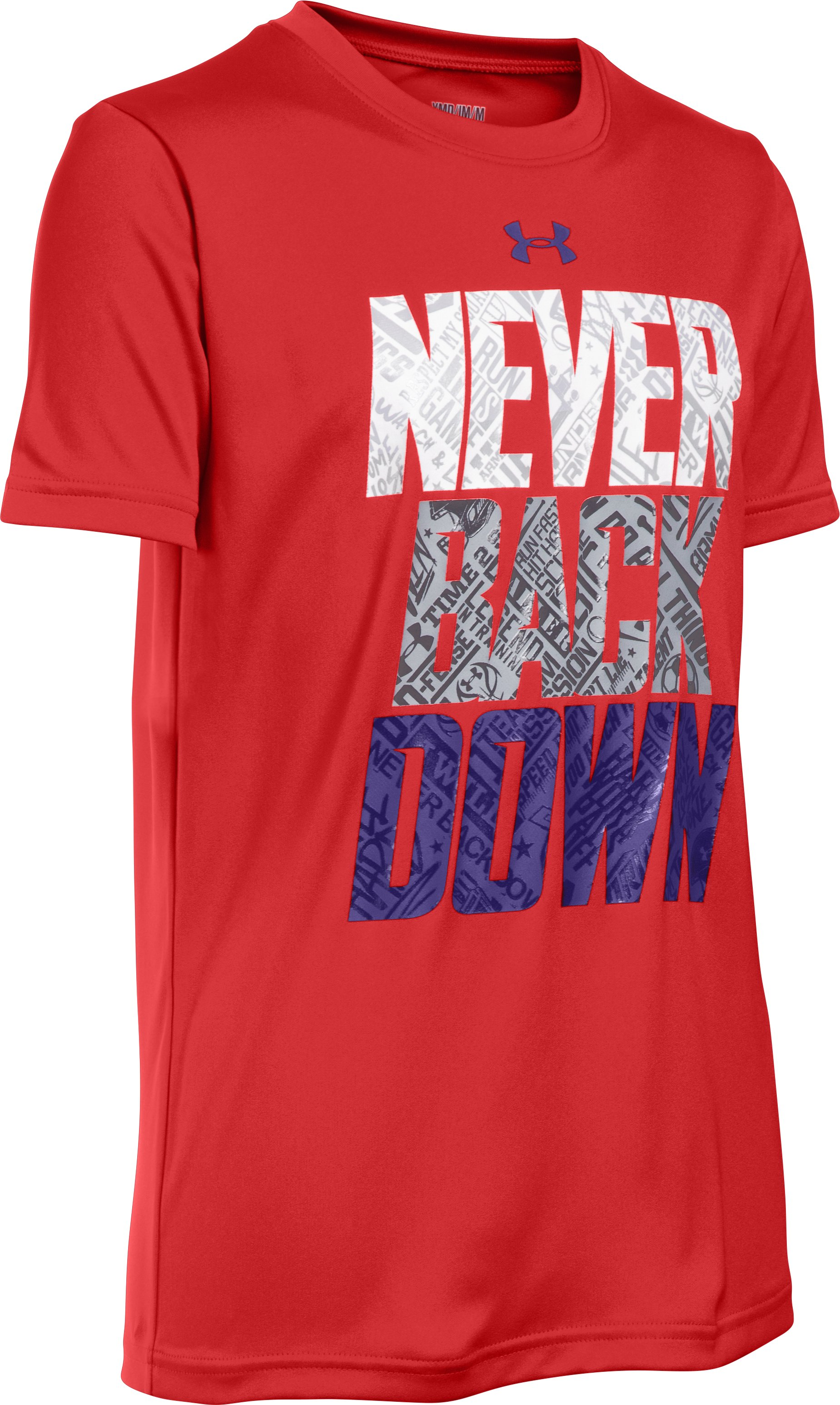 Boys' UA Never Back Down T-Shirt, RISK RED