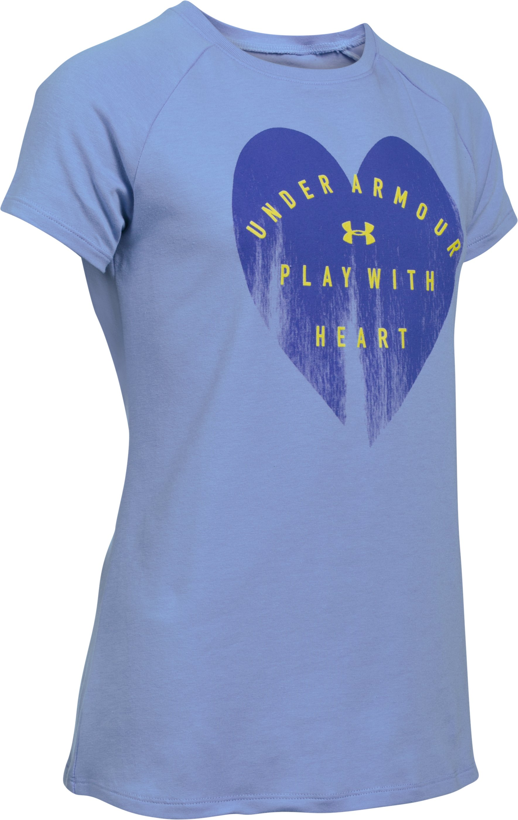 Girls' UA Play With Heart Short Sleeve, PURPLE ICE, undefined