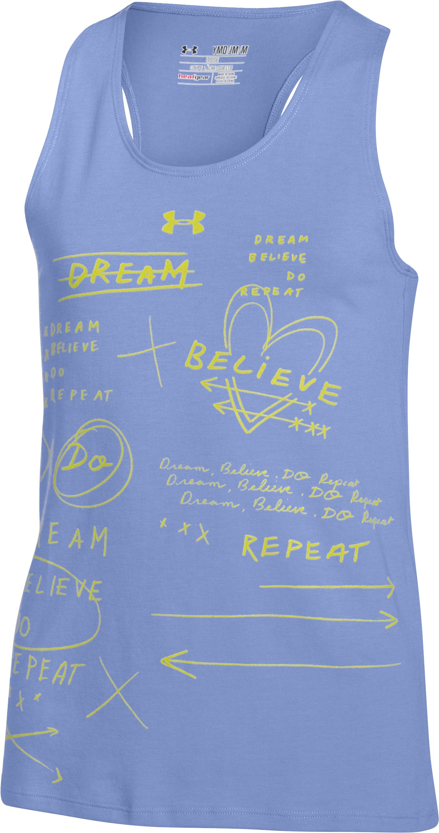 Girls' UA Dream Believe Repeat Tank, PURPLE ICE,