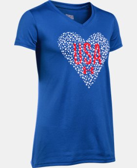 Girls' UA USA Heart V-Neck Short Sleeve