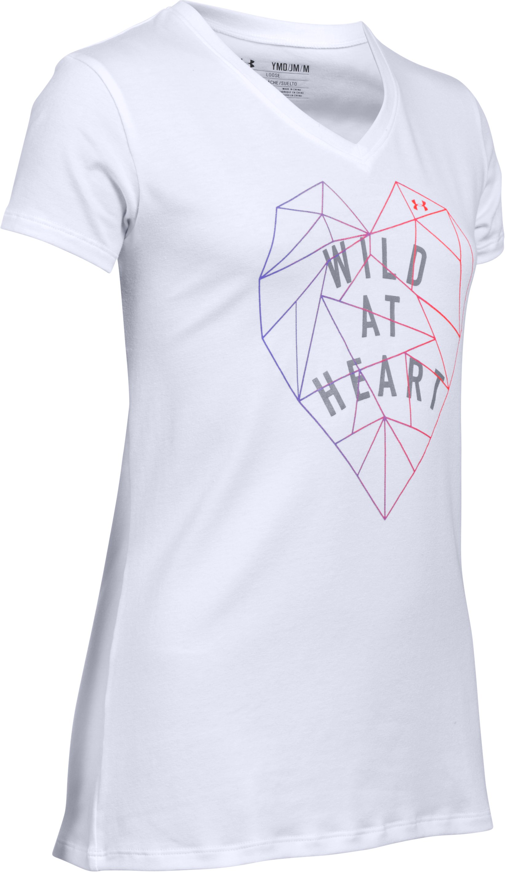 Girls' UA Wild At Heart V-Neck Short Sleeve, White, zoomed image
