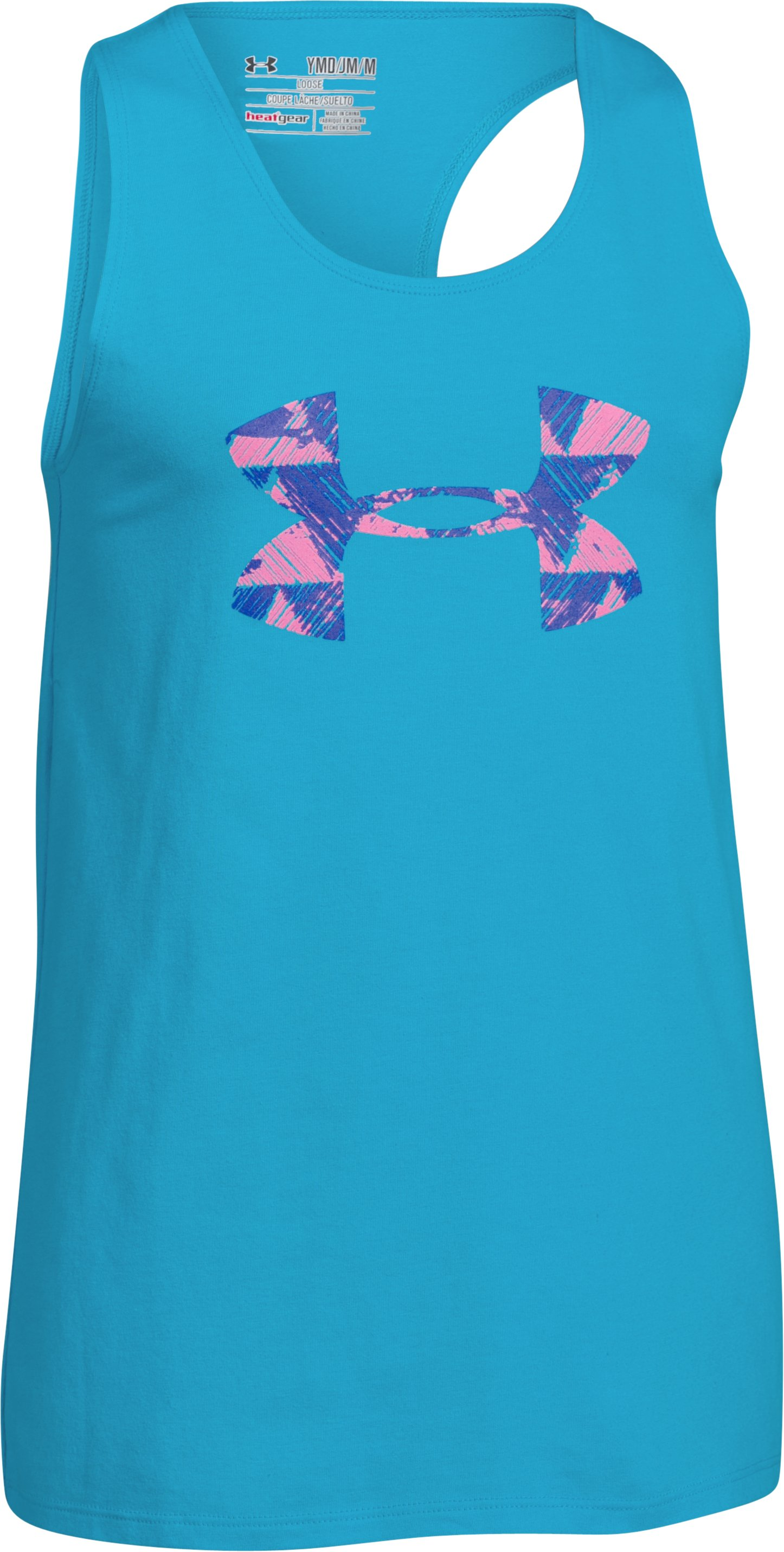 Girls' UA Favorite Big Logo Tank, MERIDIAN BLUE, zoomed image