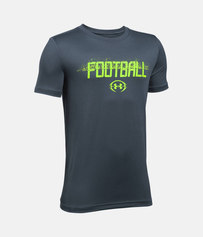 Boys 39 ua football branded t shirt under armour us for Under armor football shirts