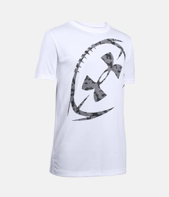 Boys 39 ua logo football t shirt under armour us for Under armor football shirts