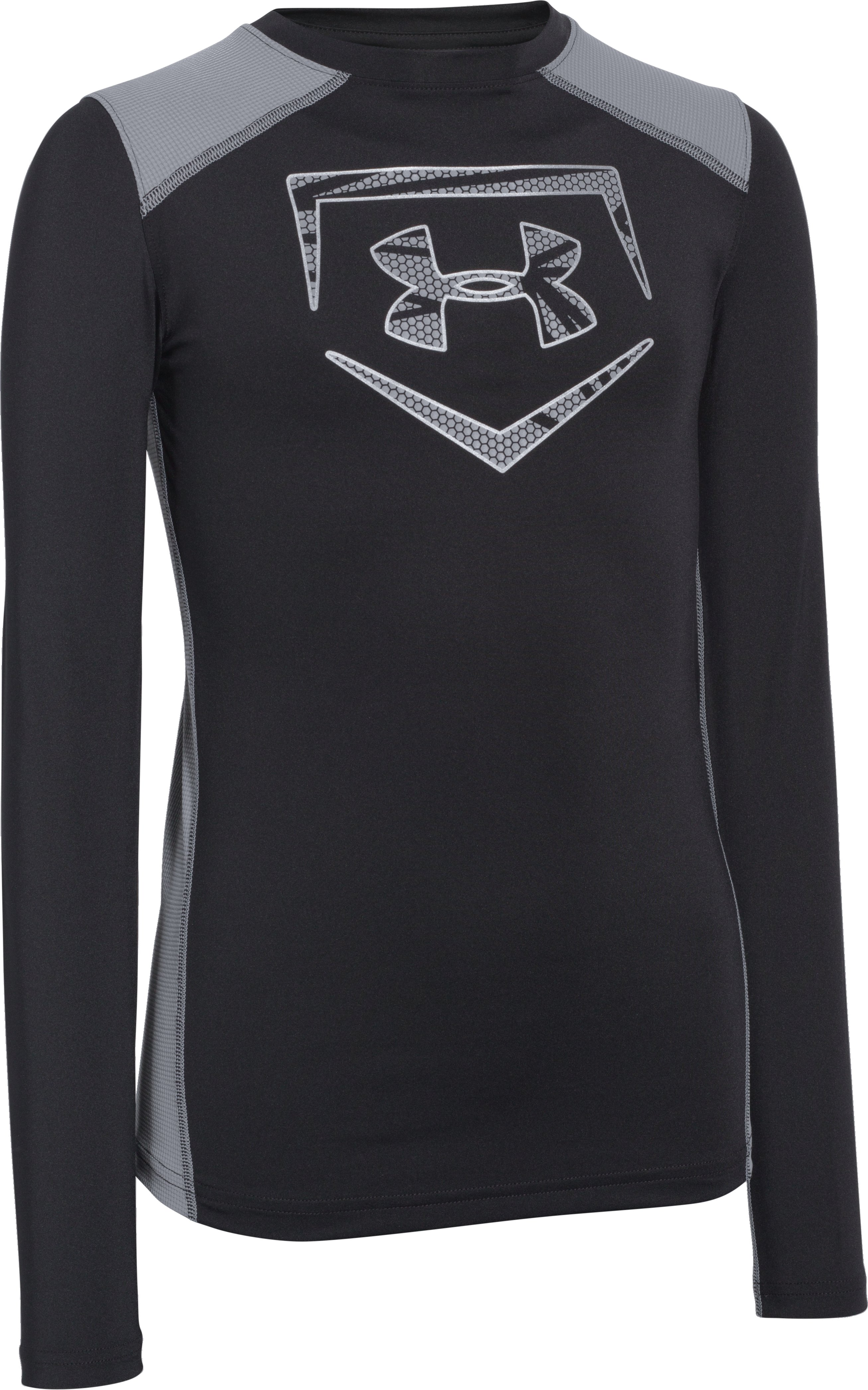 Boys' UA Undeniable Long Sleeve Fitted, Black