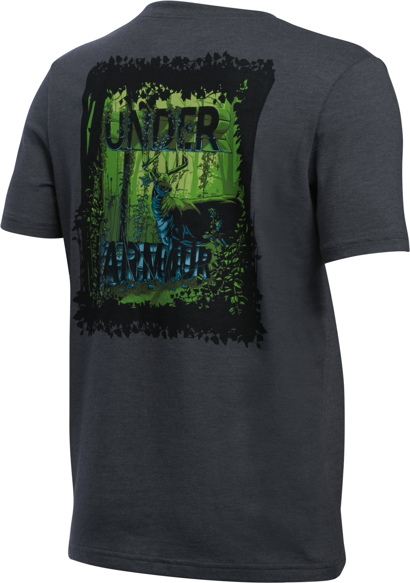 Boys' UA Whitetail Graphic Short Sleeve T-Shirt, Carbon Heather, zoomed image