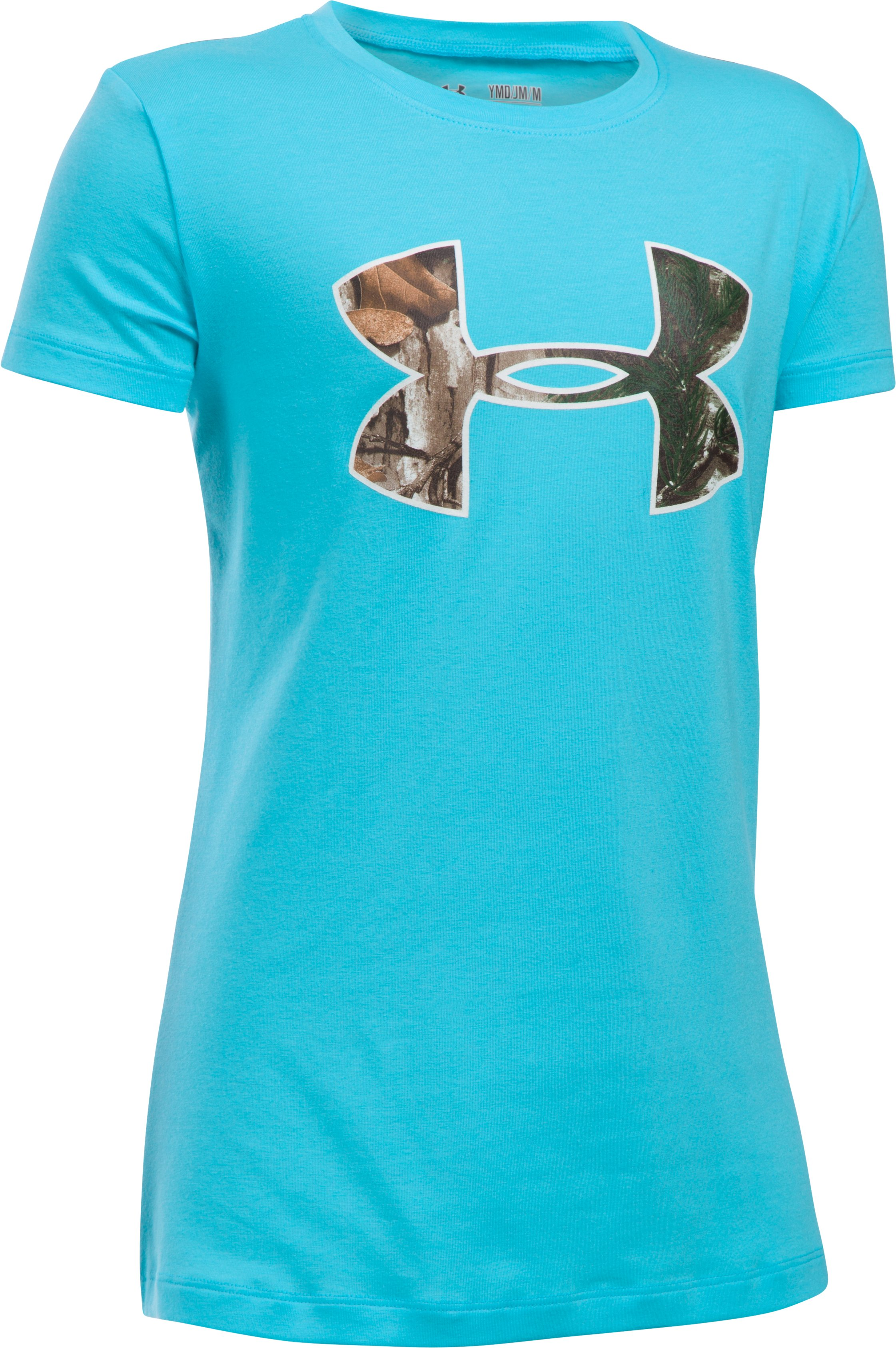 Girls' UA Camo Fill Big Logo Short Sleeve T-Shirt, Venetian Blue, zoomed image