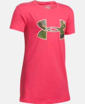 New Arrival Girls' UA Camo Fill Big Logo Short Sleeve T-Shirt   $19.99