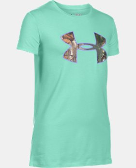 New to Outlet Girls' UA Camo Fill Big Logo Short Sleeve T-Shirt   $13.49