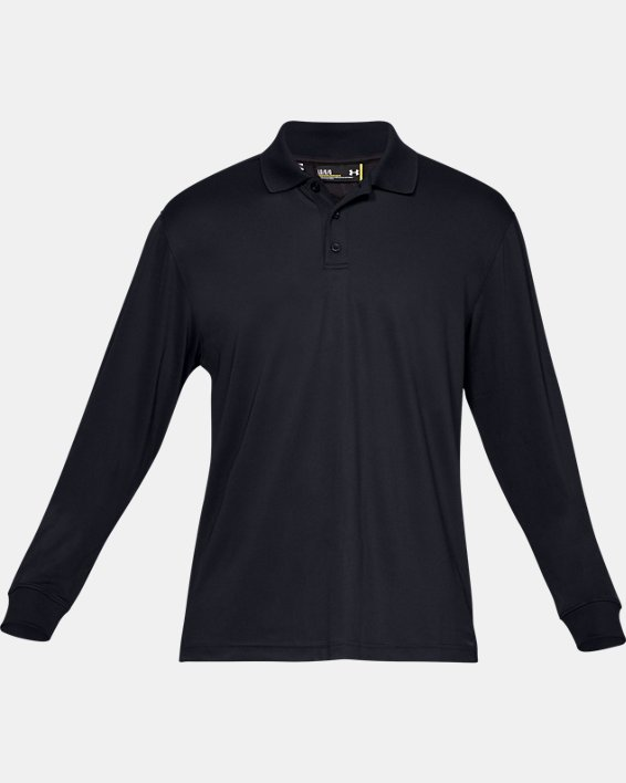 Men's UA Tactical Performance Long Sleeve Polo, Black, pdpMainDesktop image number 3