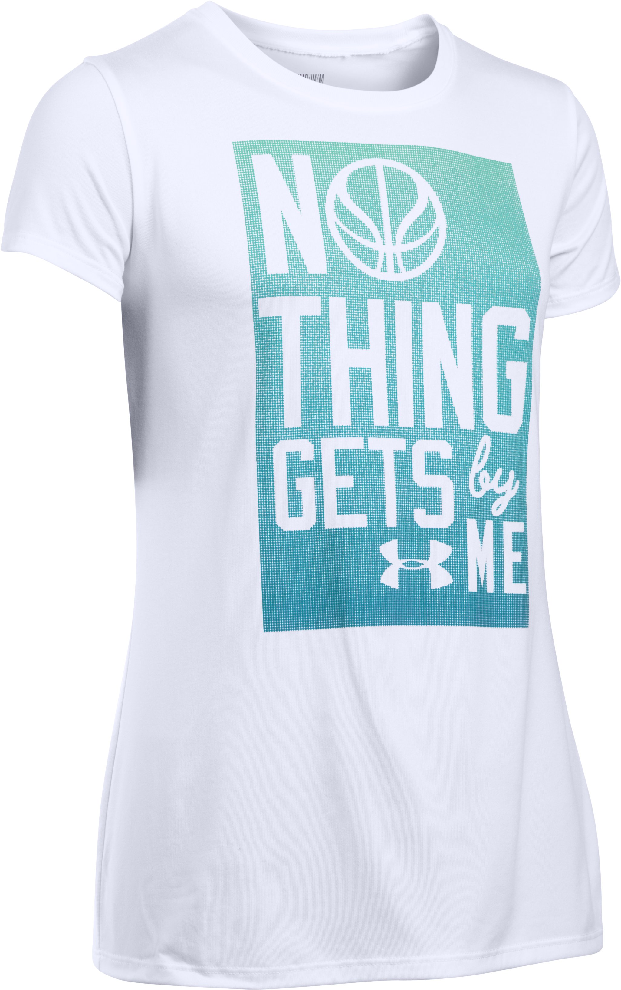 Girl's UA Nothing Gets By Me Short Sleeve, White, undefined