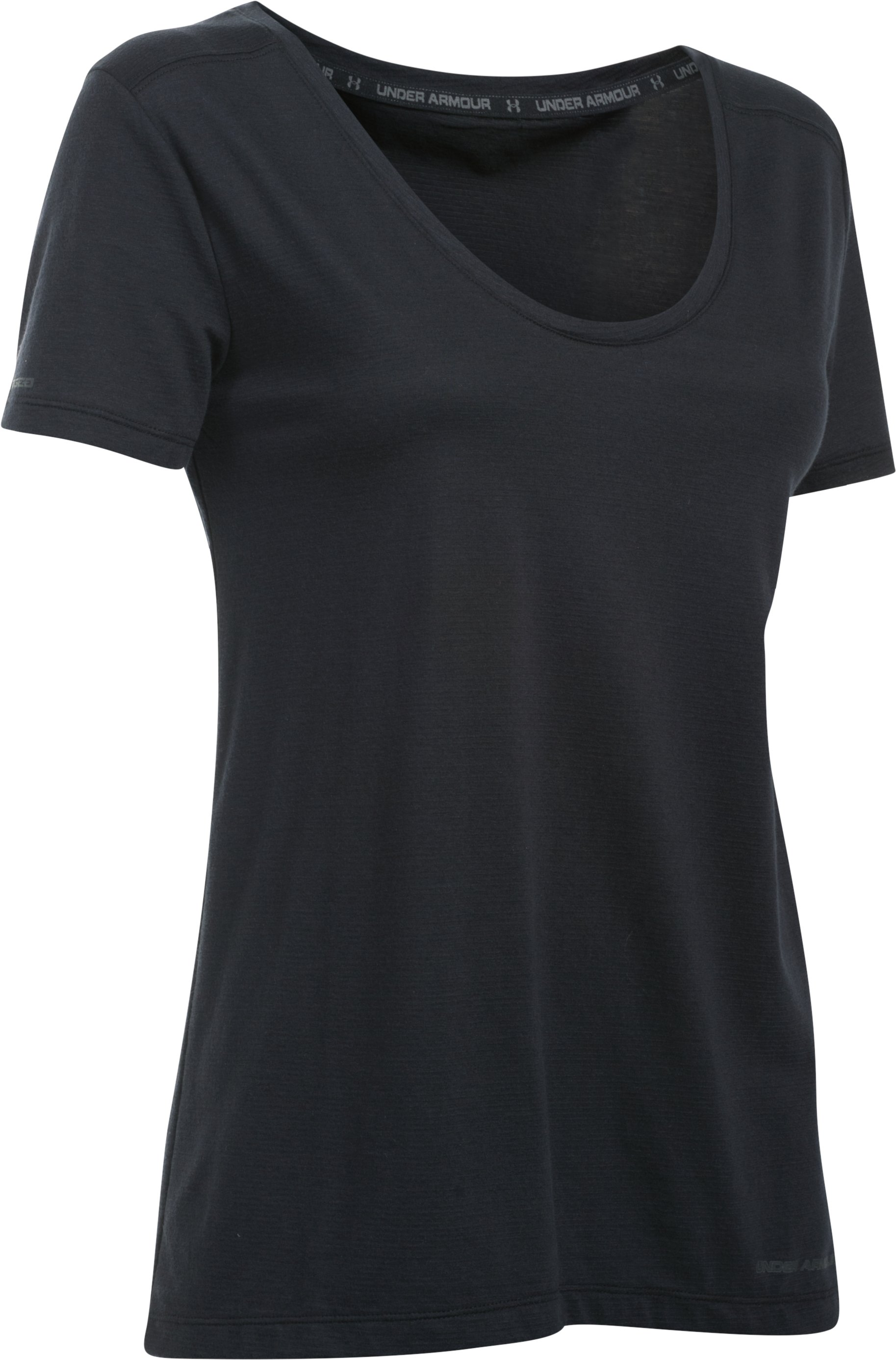 Women's Charged Cotton® Scoop V-Neck, Black , undefined