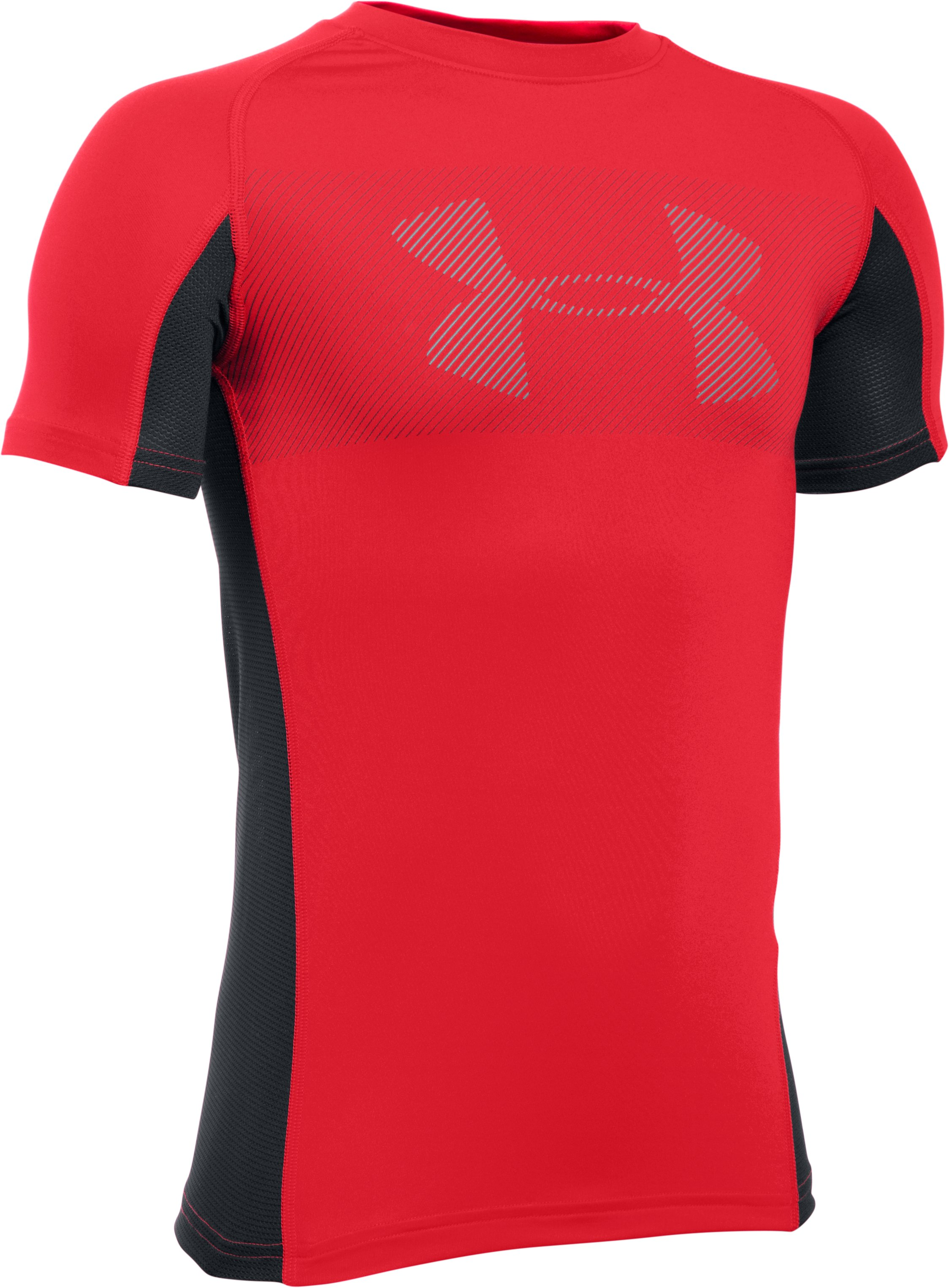 Boys' UA HeatGear® Armour Up Short Sleeve, Red, zoomed image