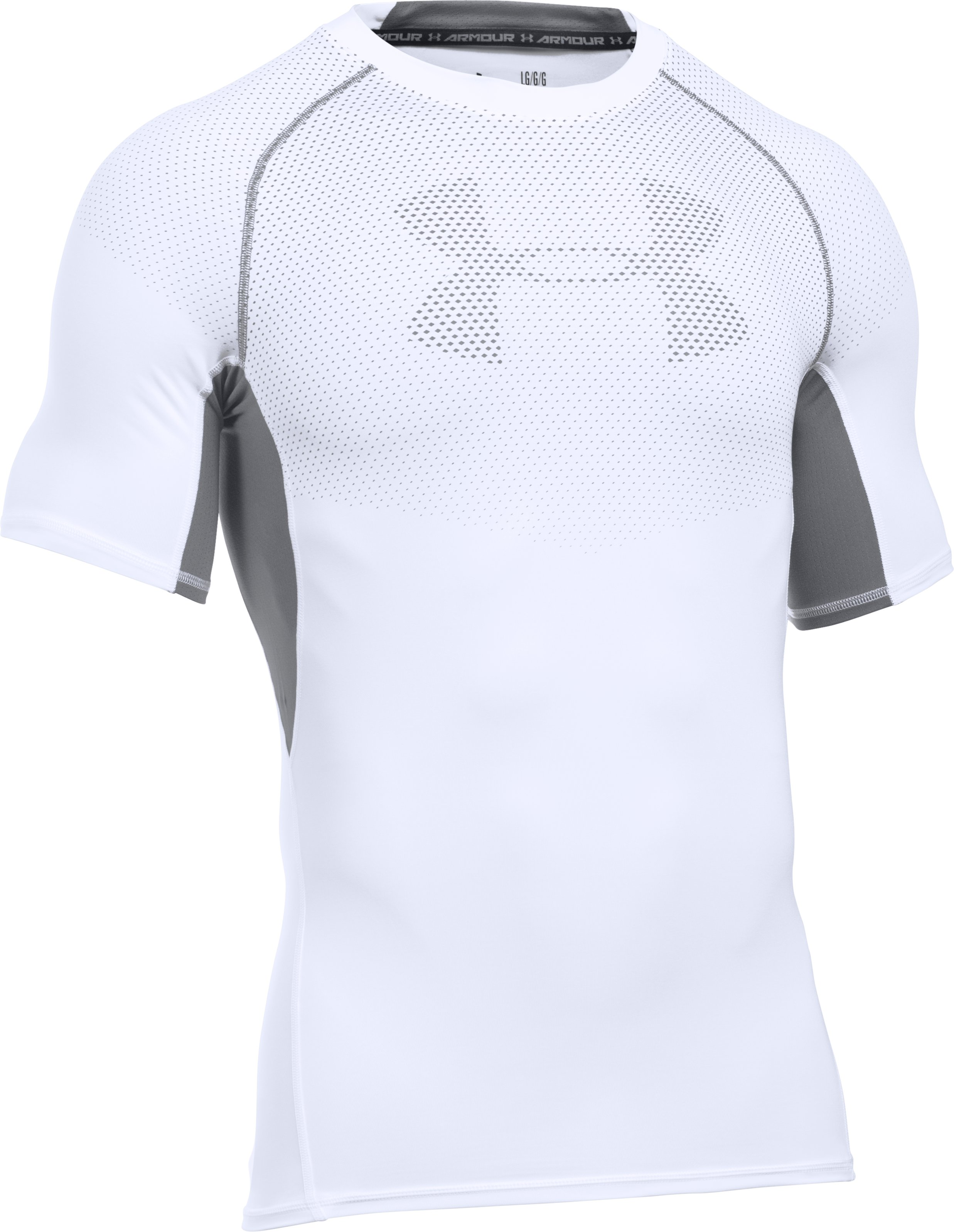 Men's UA HeatGear® Armour Printed Short Sleeve Compression Shirt , White