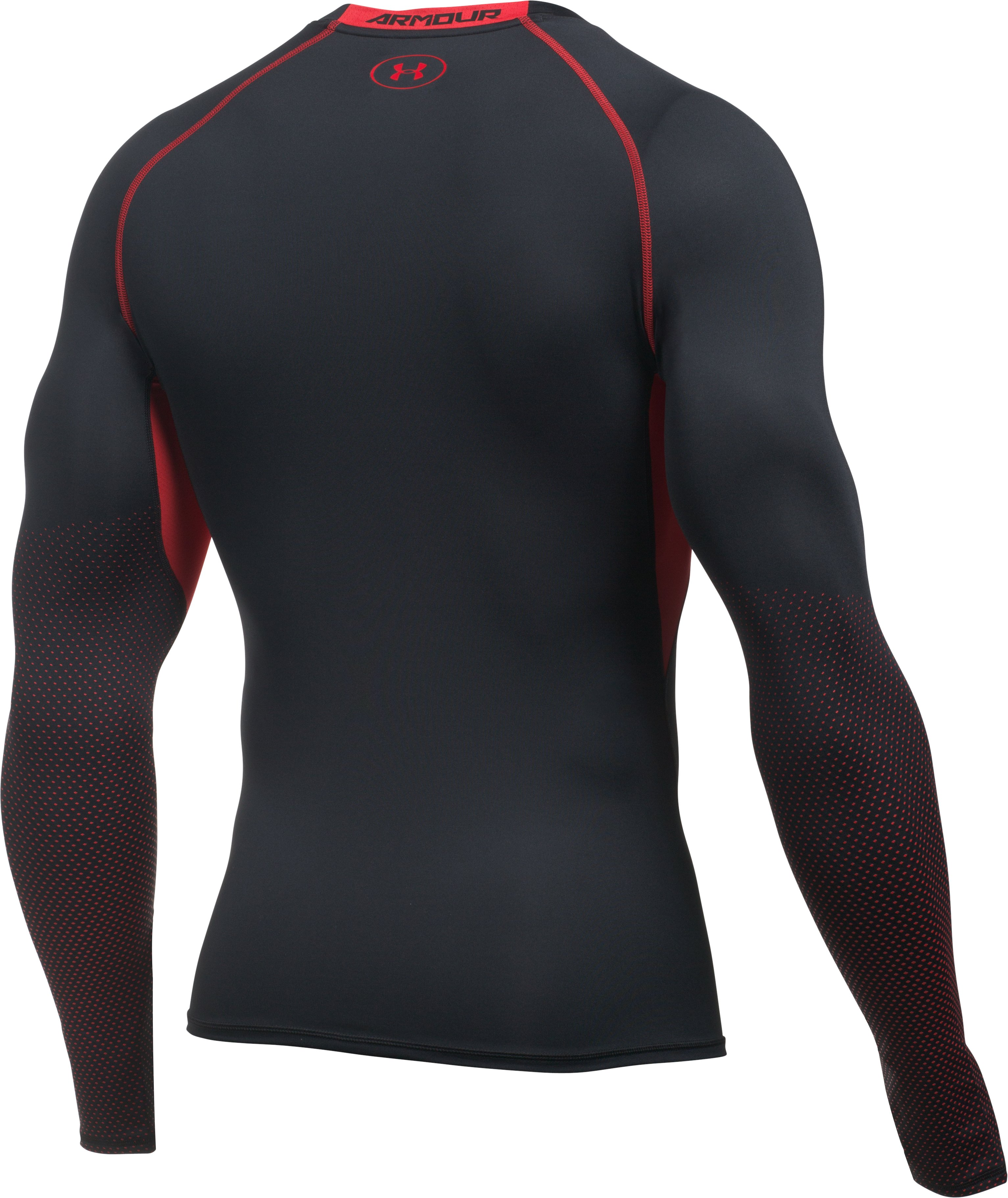 Men's UA HeatGear® Armour Printed Long Sleeve Compression Shirt, Black , undefined