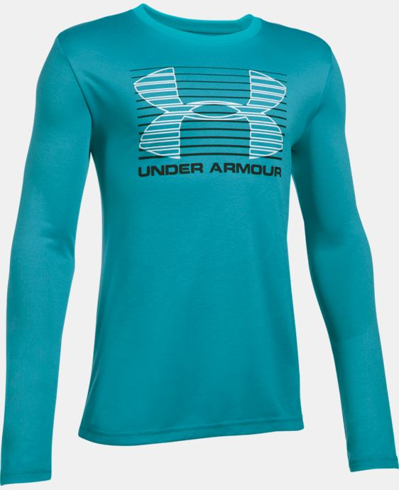 New Arrival  Boys' UA Breakthrough Logo Long Sleeve T-Shirt LIMITED TIME: FREE SHIPPING 2 Colors $29.99