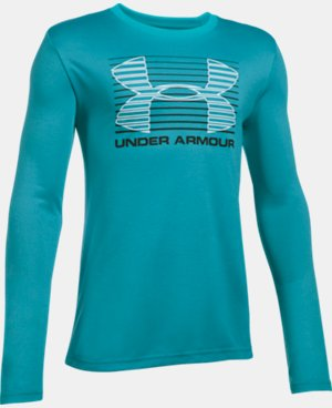 New Arrival  Boys' UA Breakthrough Logo Long Sleeve T-Shirt LIMITED TIME: FREE SHIPPING 1 Color $29.99