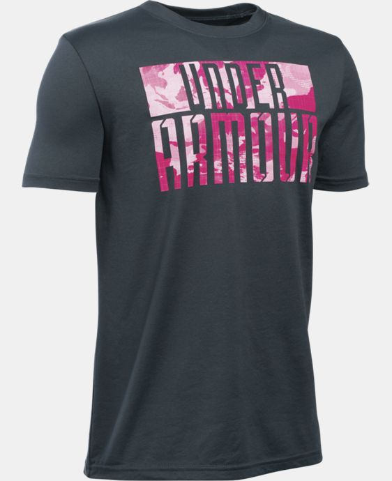 New Arrival  Boys' UA Power In Pink® Armoured T-Shirt LIMITED TIME: FREE SHIPPING 1 Color $29.99