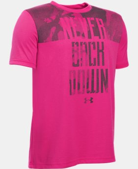 New Arrival Boys' UA Power In Pink® Never Back Down T-Shirt LIMITED TIME: FREE SHIPPING  $27.99