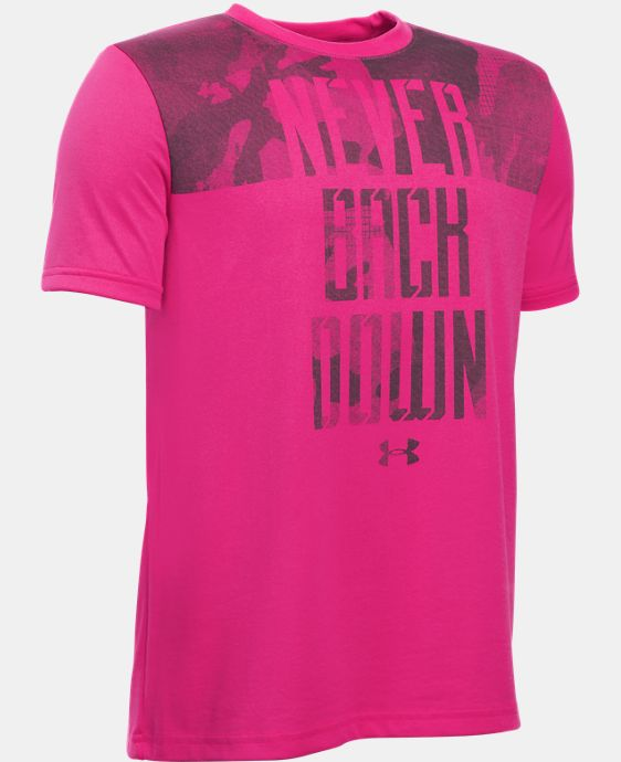 New Arrival  Boys' UA Power In Pink® Never Back Down T-Shirt  1 Color $32.99
