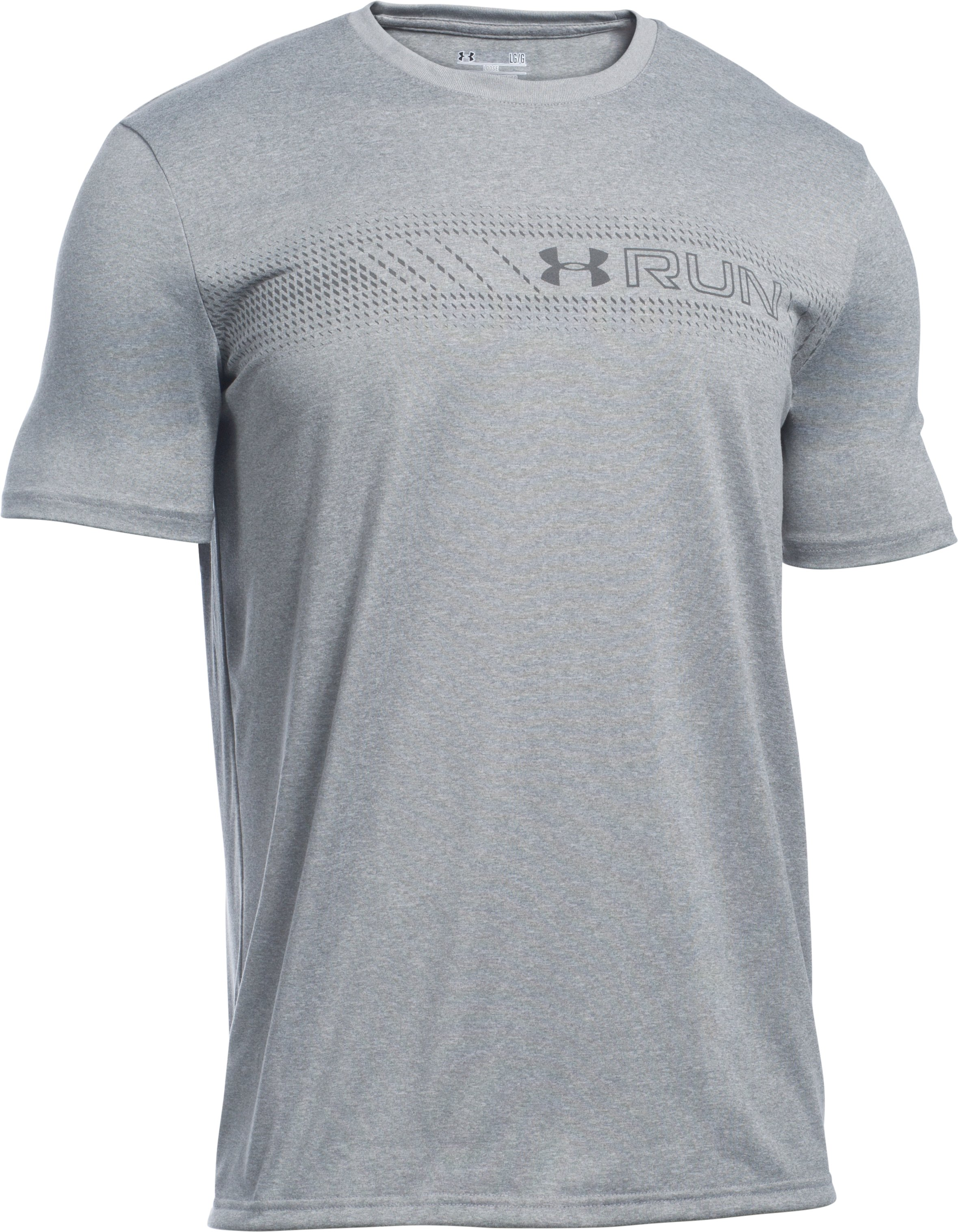 Men's UA Run Chest Graphic T-Shirt, True Gray Heather, undefined