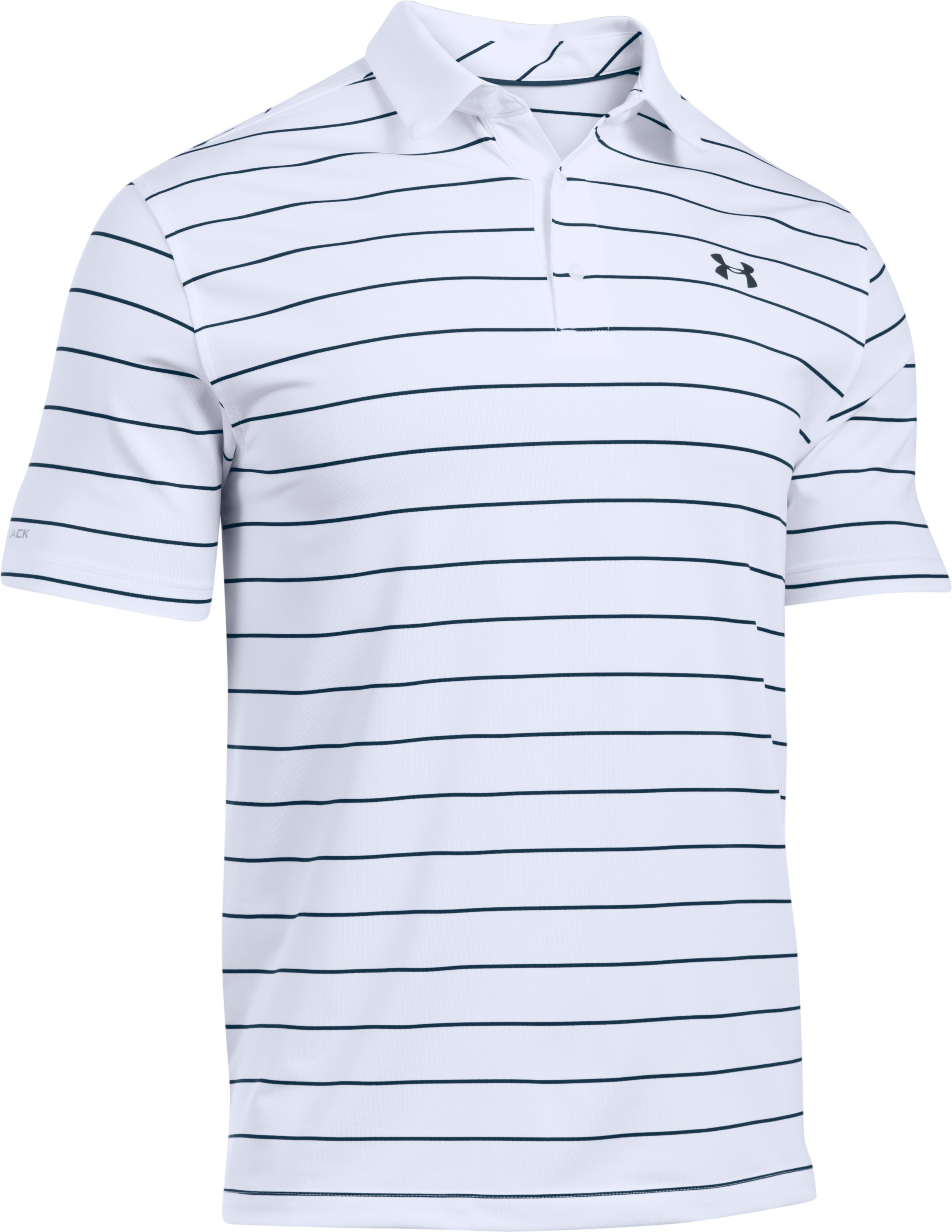 Men's UA coldblack® Swing Plane Stripe Polo, White,