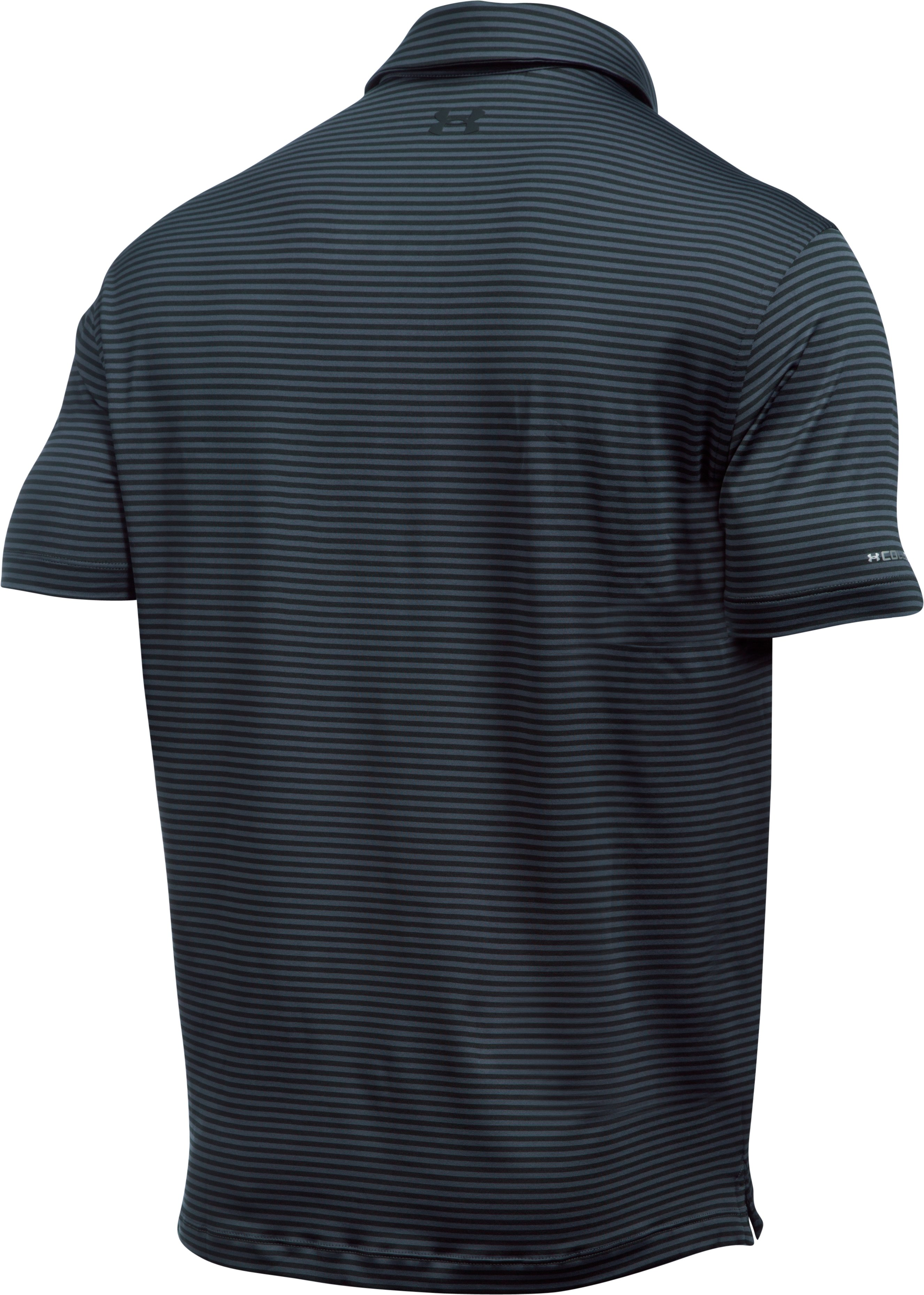 Men's UA coldblack® Tee Time Stripe Polo, STEALTH GRAY