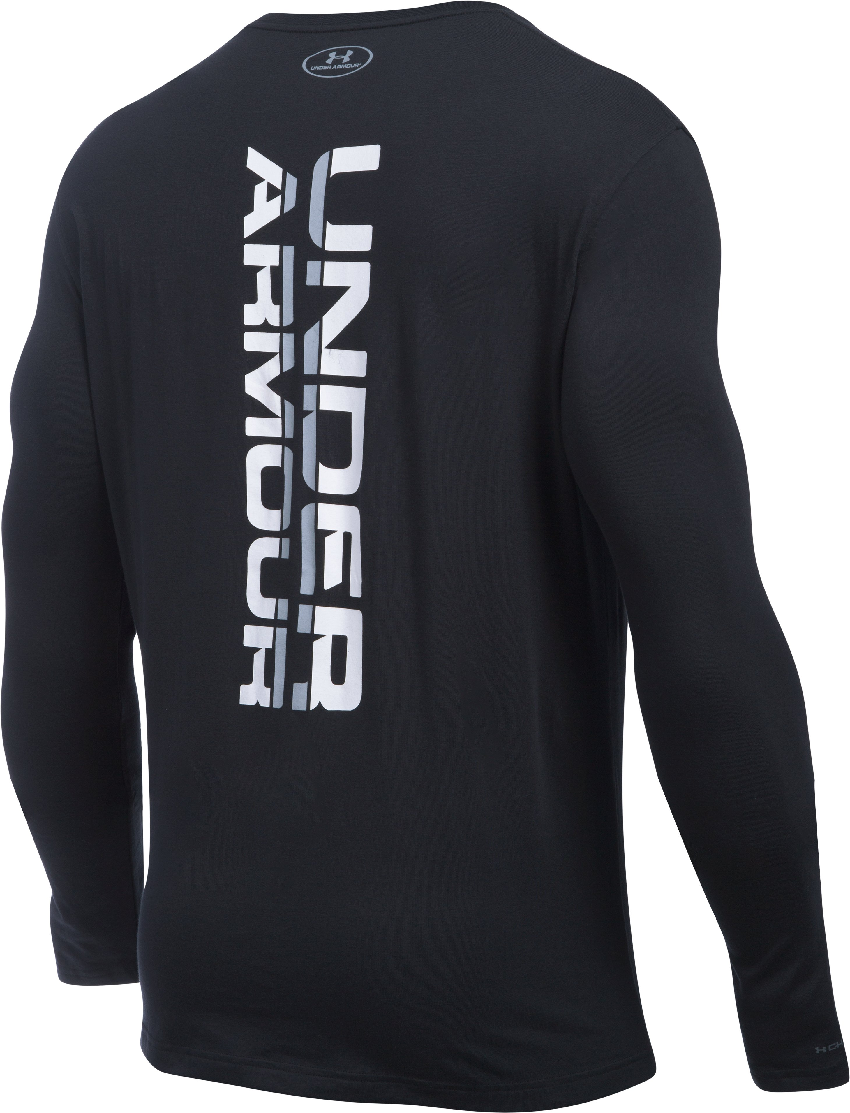 Men's UA Vertical Wordmark Long Sleeve T-Shirt, Black , undefined