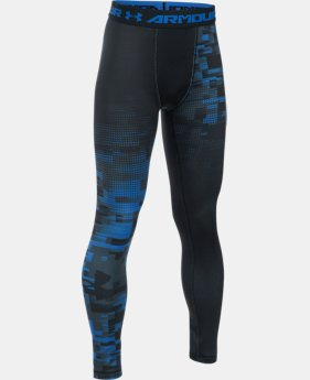 Boys' UA ColdGear® Armour Up Printed Legging  1 Color $27.99