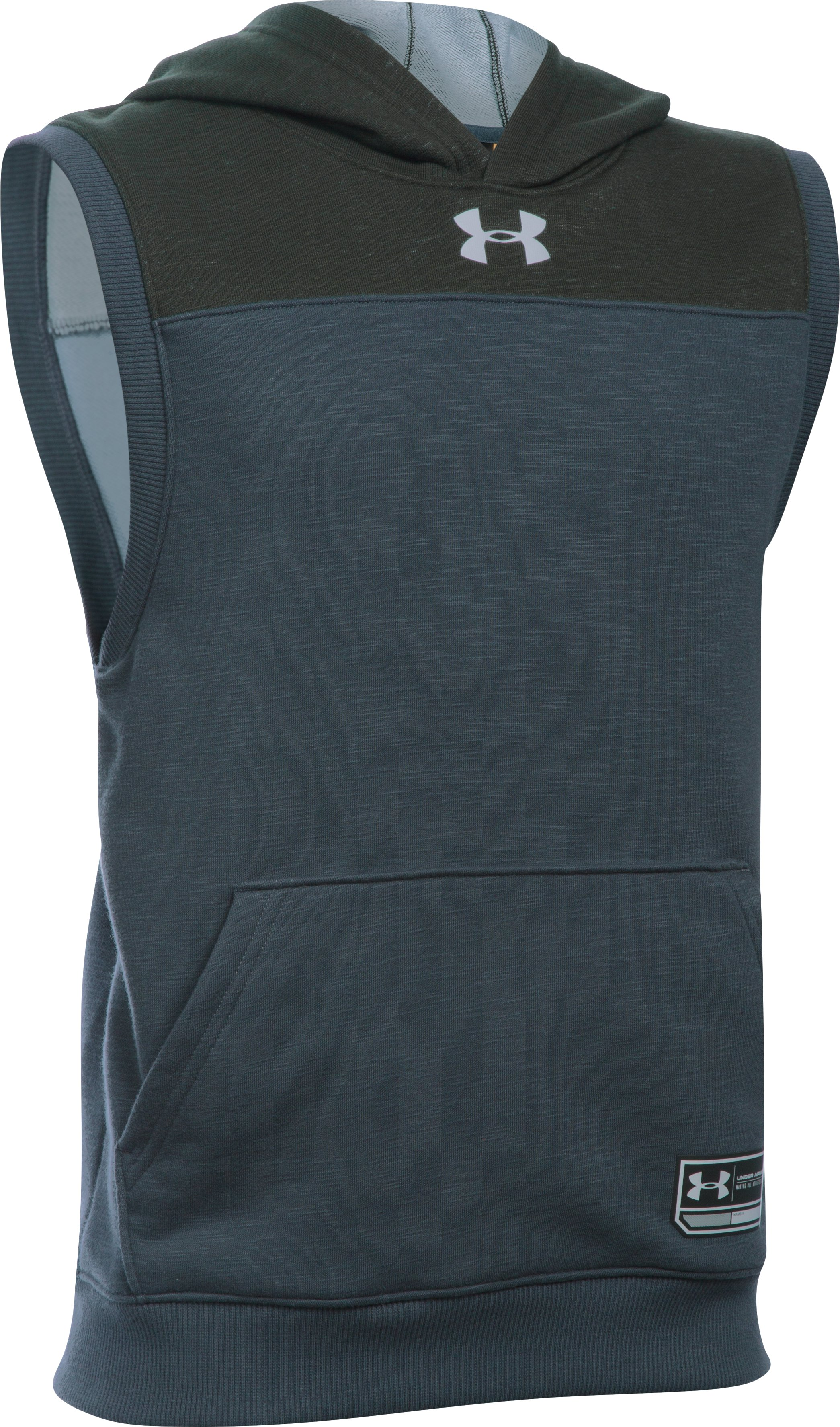 Boys' UA Click-Clack Sleeveless Hoodie, STEALTH GRAY, zoomed image
