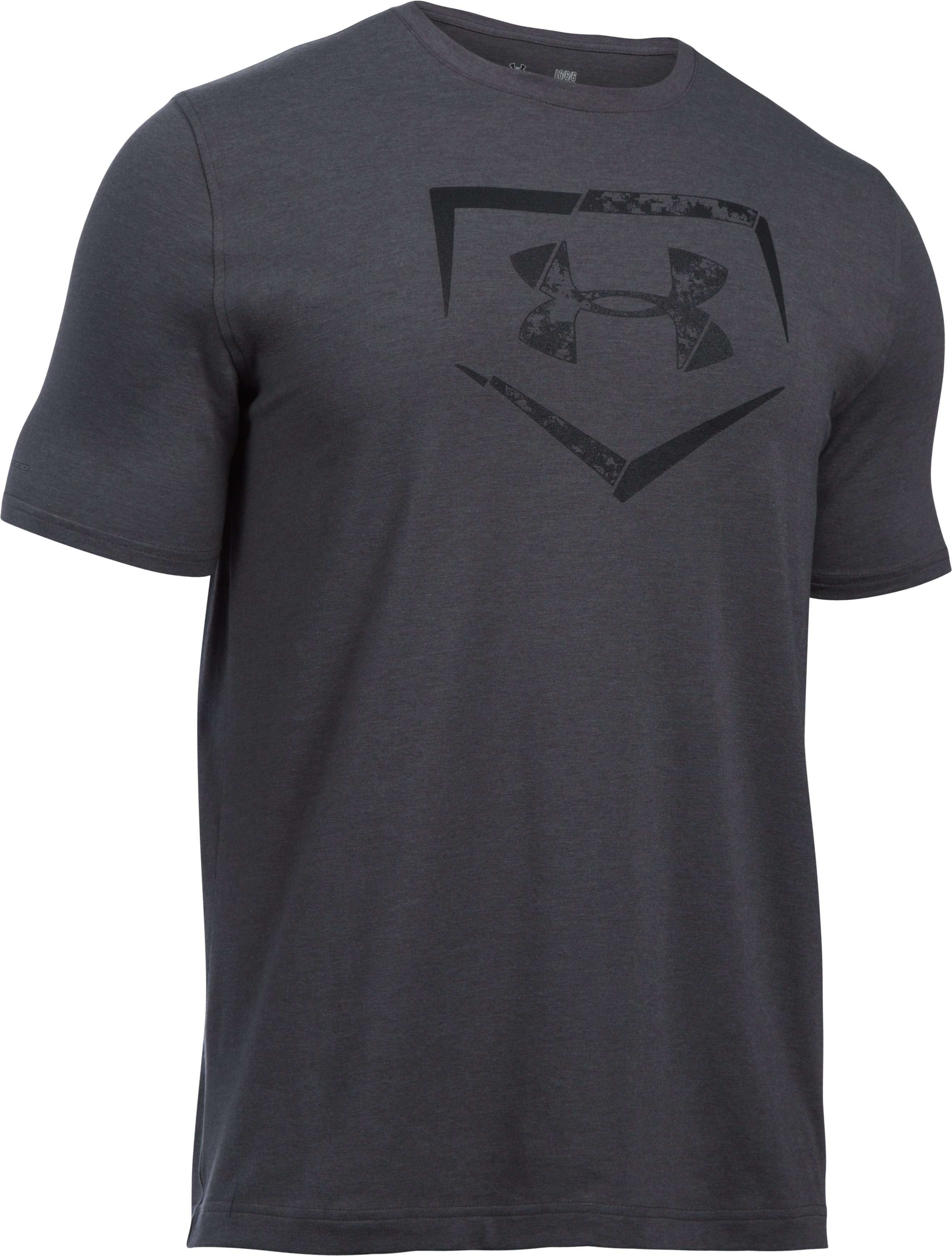 Men's UA Baseball Plate Logo T-Shirt, Carbon Heather, undefined