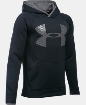 New to Outlet Boys' UA Storm Armour® Fleece Highlight Big Logo Hoodie LIMITED TIME OFFER + FREE U.S. SHIPPING 17 Colors $29.99