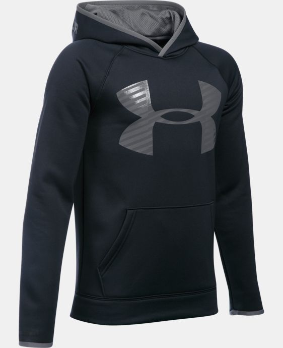 New Arrival  Boys' UA Storm Armour® Fleece Highlight Big Logo Hoodie  4 Colors $49.99