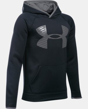 New Arrival  Boys' UA Storm Armour® Fleece Highlight Big Logo Hoodie  1 Color $49.99