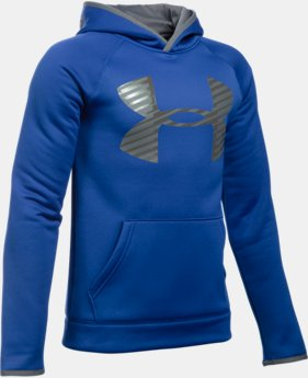 Best Seller Boys' UA Storm Armour® Fleece Highlight Big Logo Hoodie  3 Colors $44.99