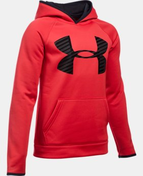 Boys' UA Storm Armour® Fleece Highlight Big Logo Hoodie   $44.99