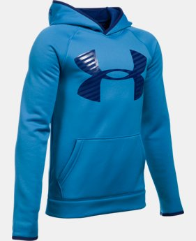 Boys' UA Storm Armour® Fleece Highlight Big Logo Hoodie   $37.99