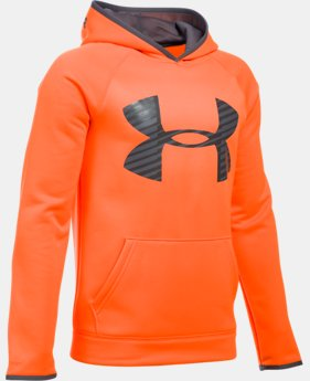 Boys' UA Storm Armour Fleece® Highlight Big Logo Hoodie  1 Color $26.99 to $33.99