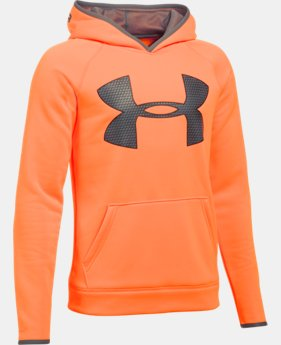 Boys' UA Storm Armour® Fleece Highlight Big Logo Hoodie  1 Color $27.99 to $33.99