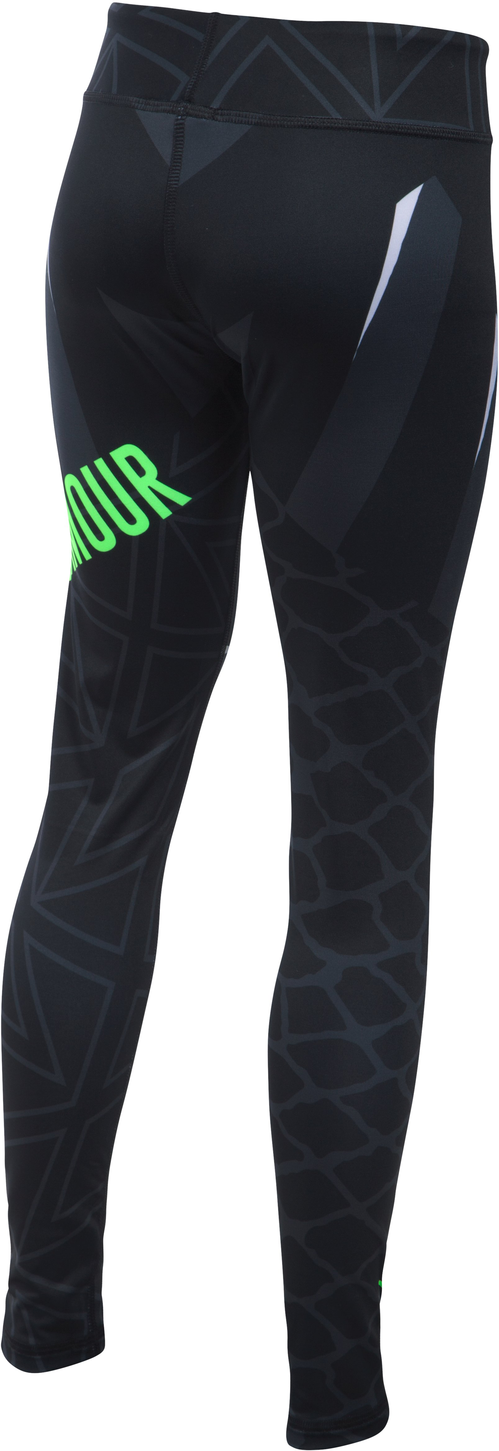 Girls' UA Mix Master Chain Grid Leggings, Black , undefined