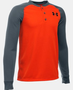 Boys' UA Waffle Henley LIMITED TIME: FREE SHIPPING 1 Color $34.99