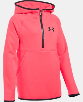 New Arrival Girls' UA Armour® Fleece 1/2 Zip Hoodie  1 Color $49.99
