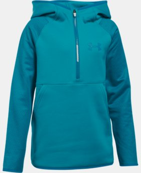 New Arrival  Girls' UA Armour® Fleece Printed 1/2 Zip Hoodie  1 Color $64.99