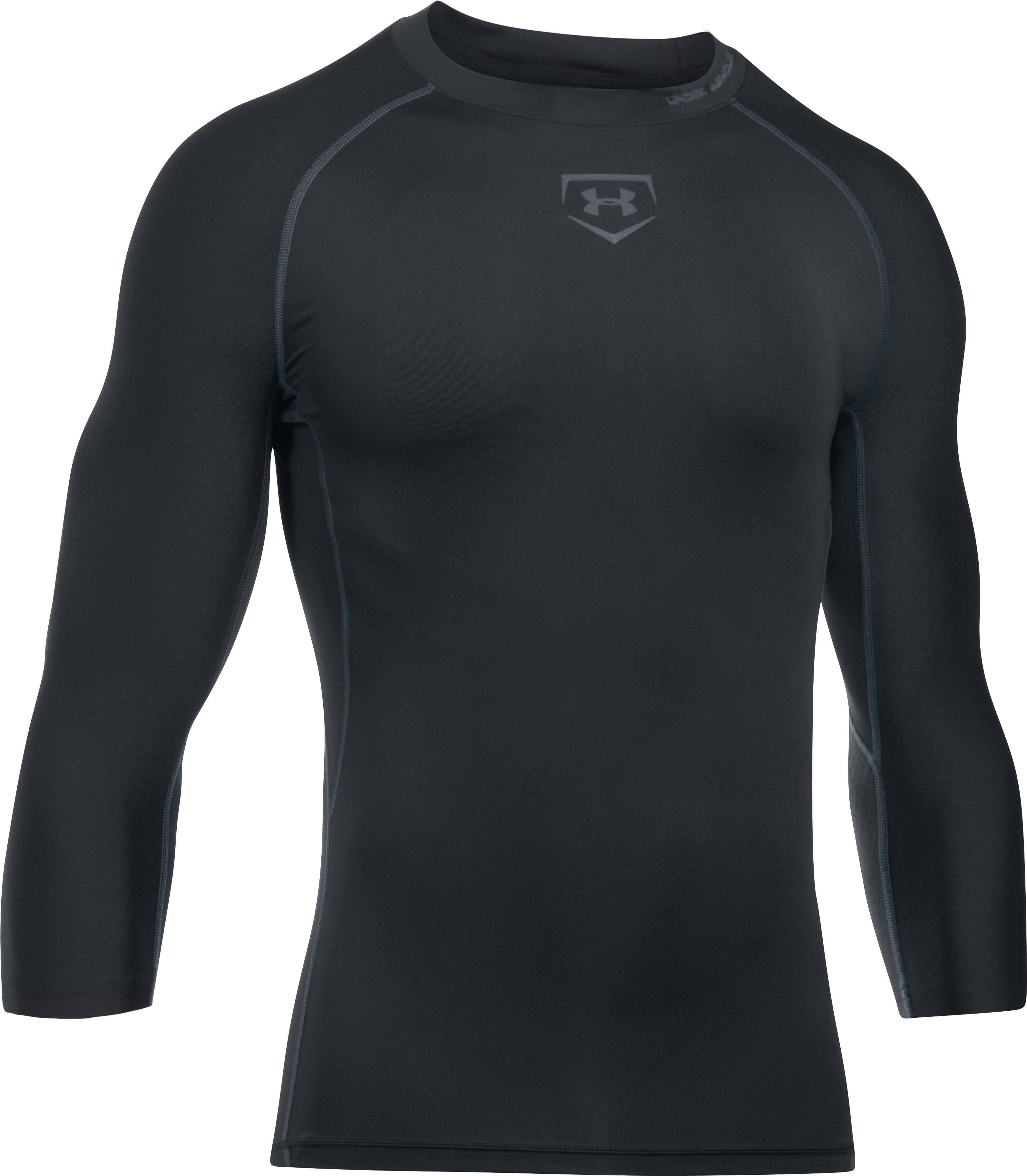 Men's UA Zonal Compression ¾ Sleeve, Black , undefined