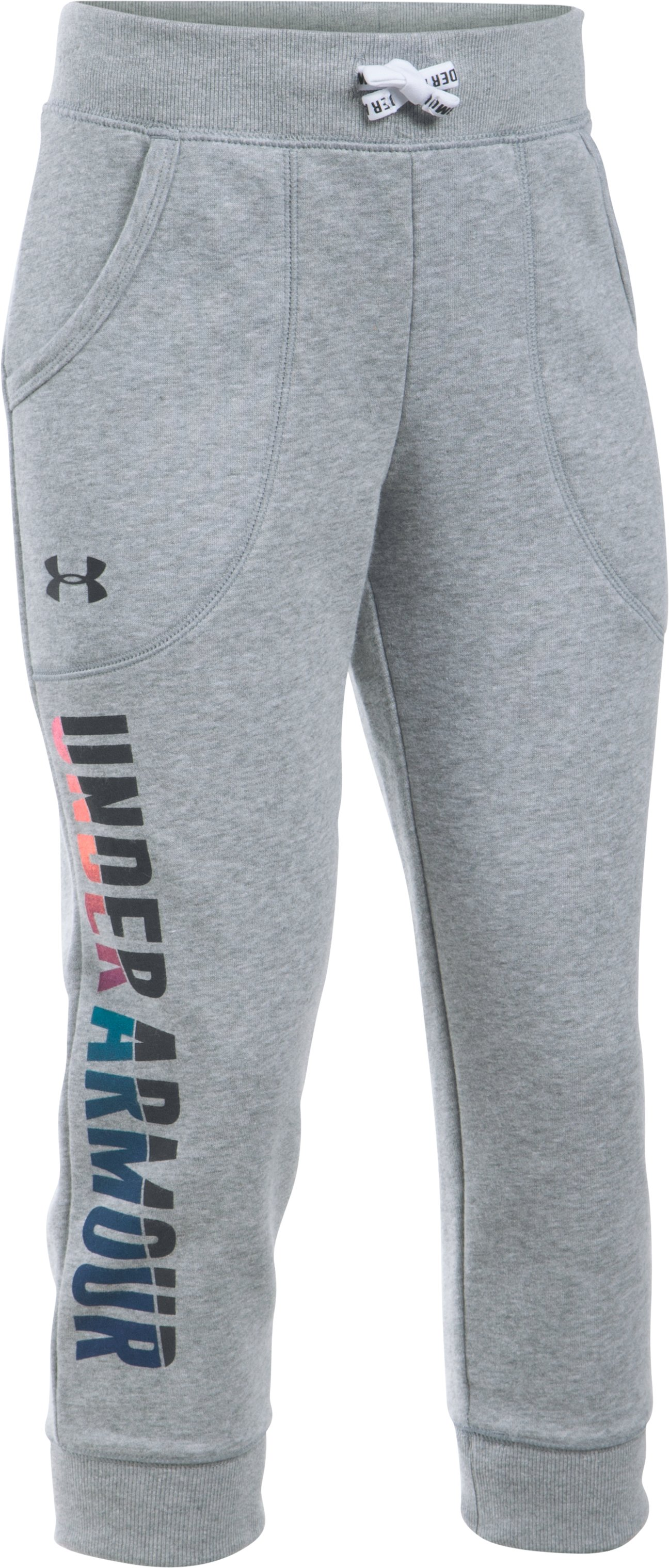 Girls' UA Favorite Fleece Capri, True Gray Heather, zoomed image