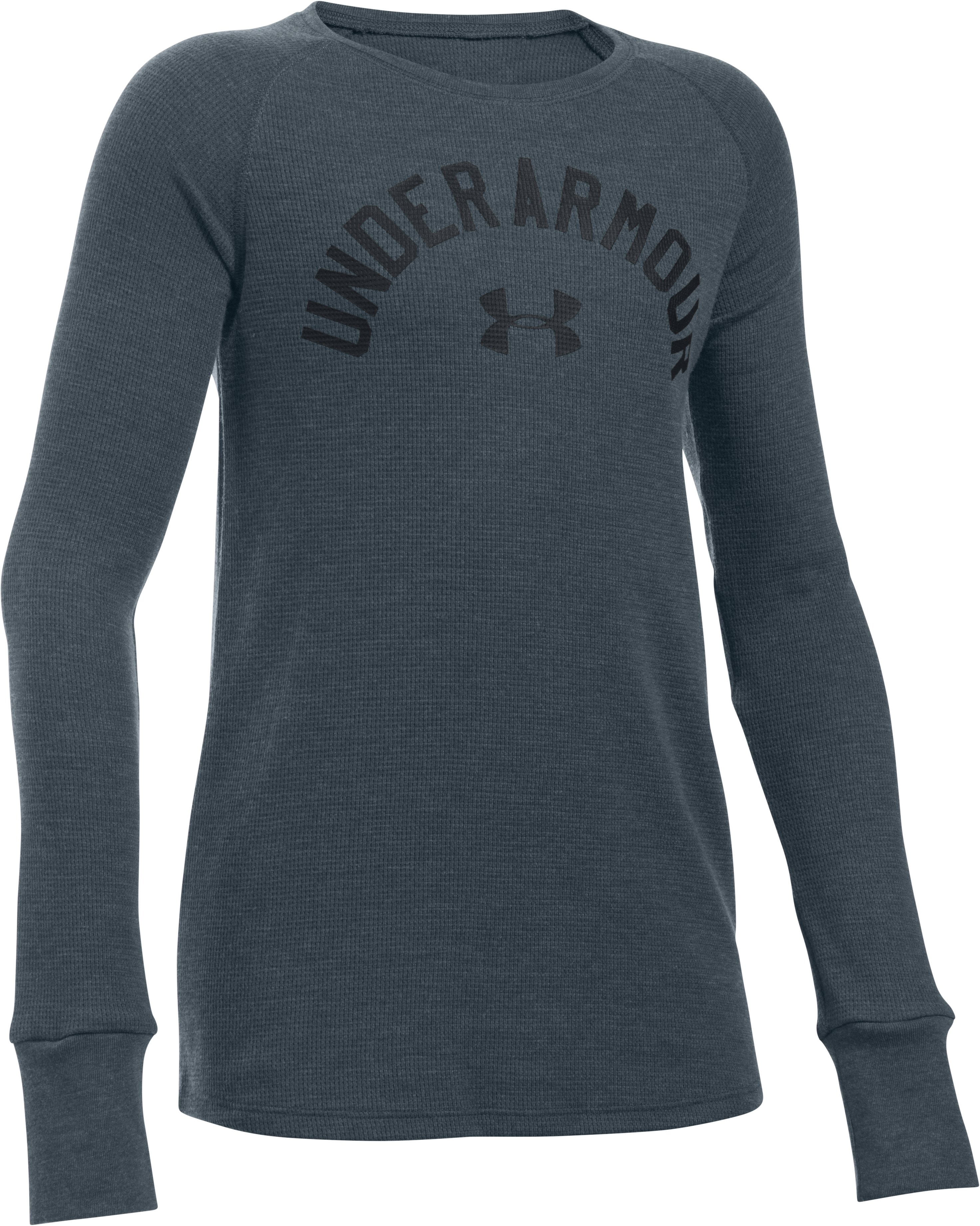 Girls' UA Waffle Long Sleeve, STEALTH GRAY, undefined