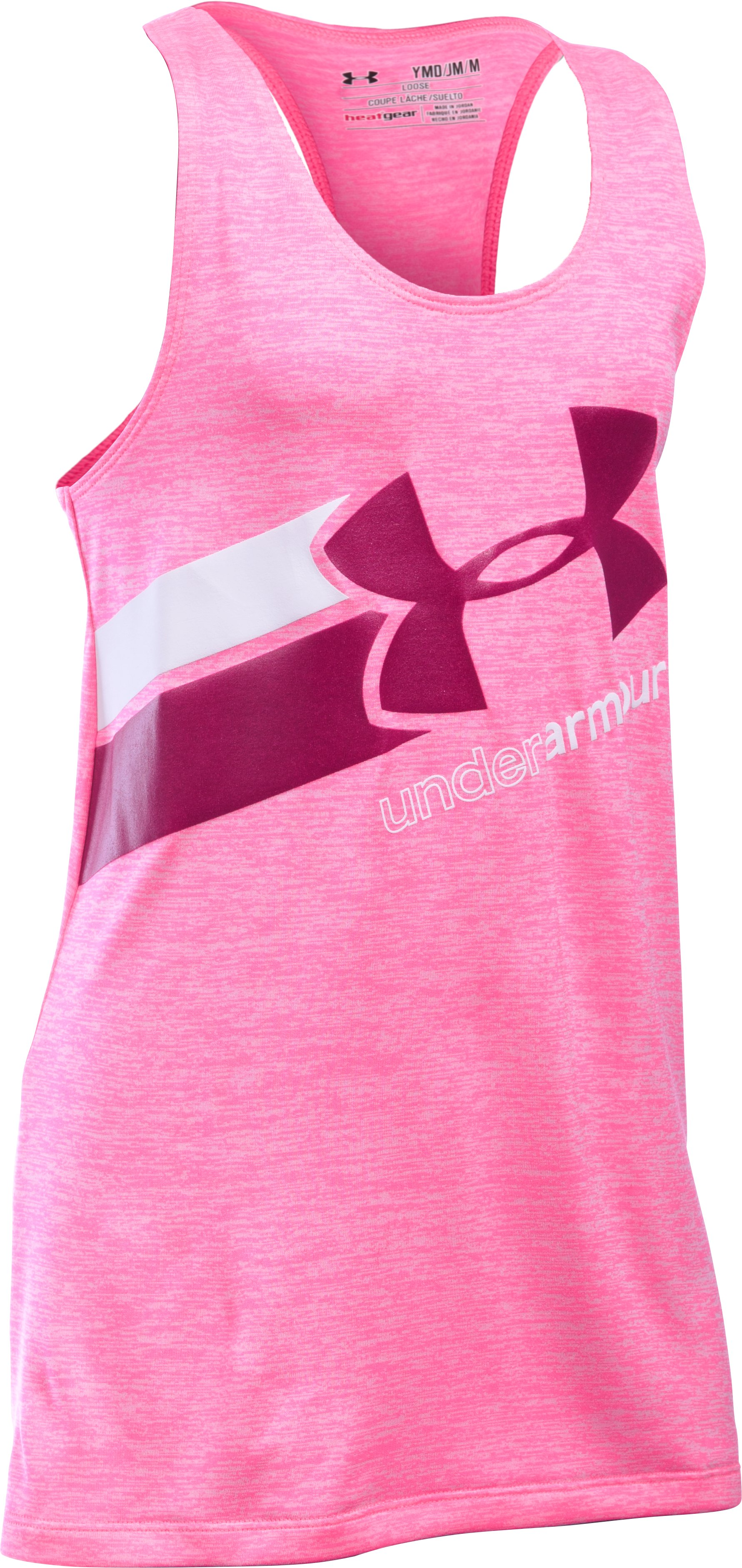 Girls' UA Big Logo Printed Tank, PINK PUNK