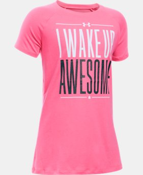 Best Seller Girls' UA I Wake Up Awesome T-Shirt LIMITED TIME: FREE SHIPPING 1 Color $19.99