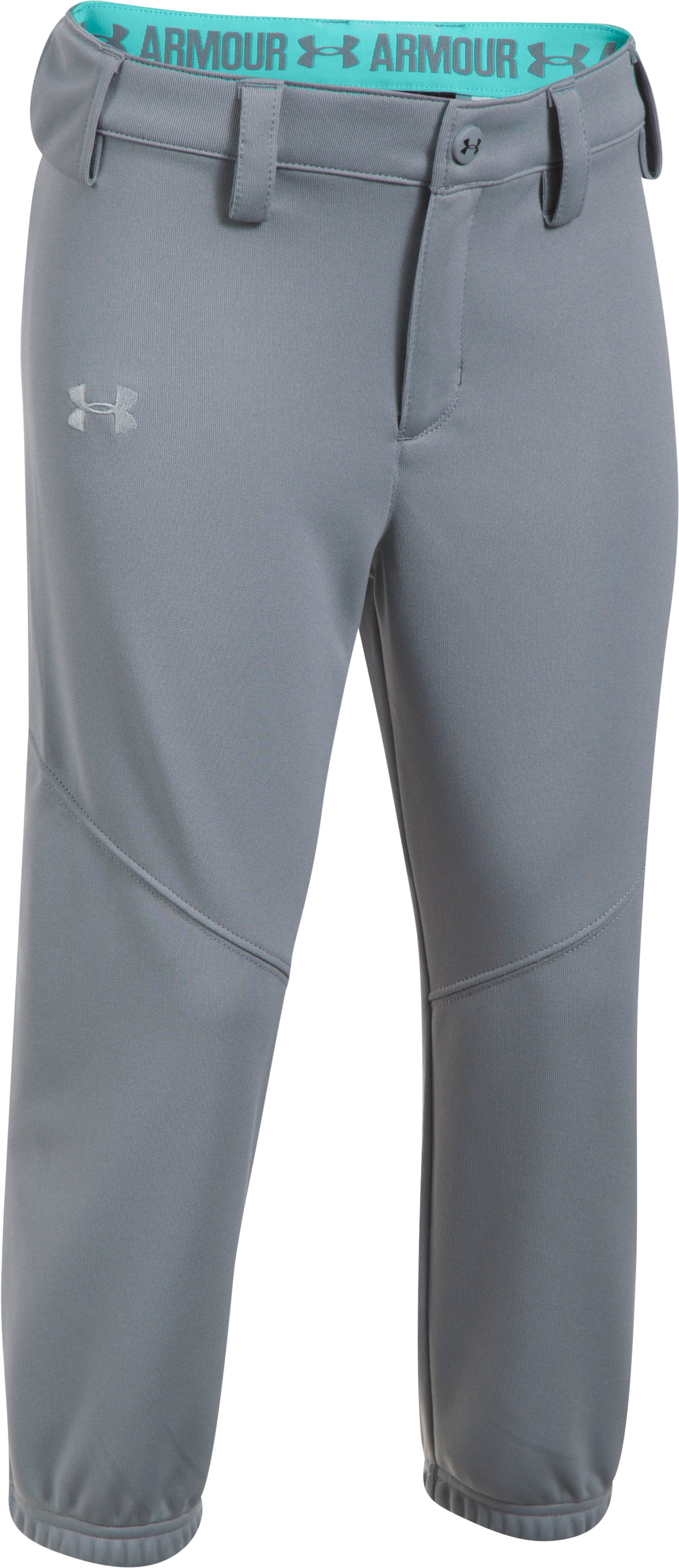 Girls' UA Base Runner Softball Pants, Steel, zoomed image